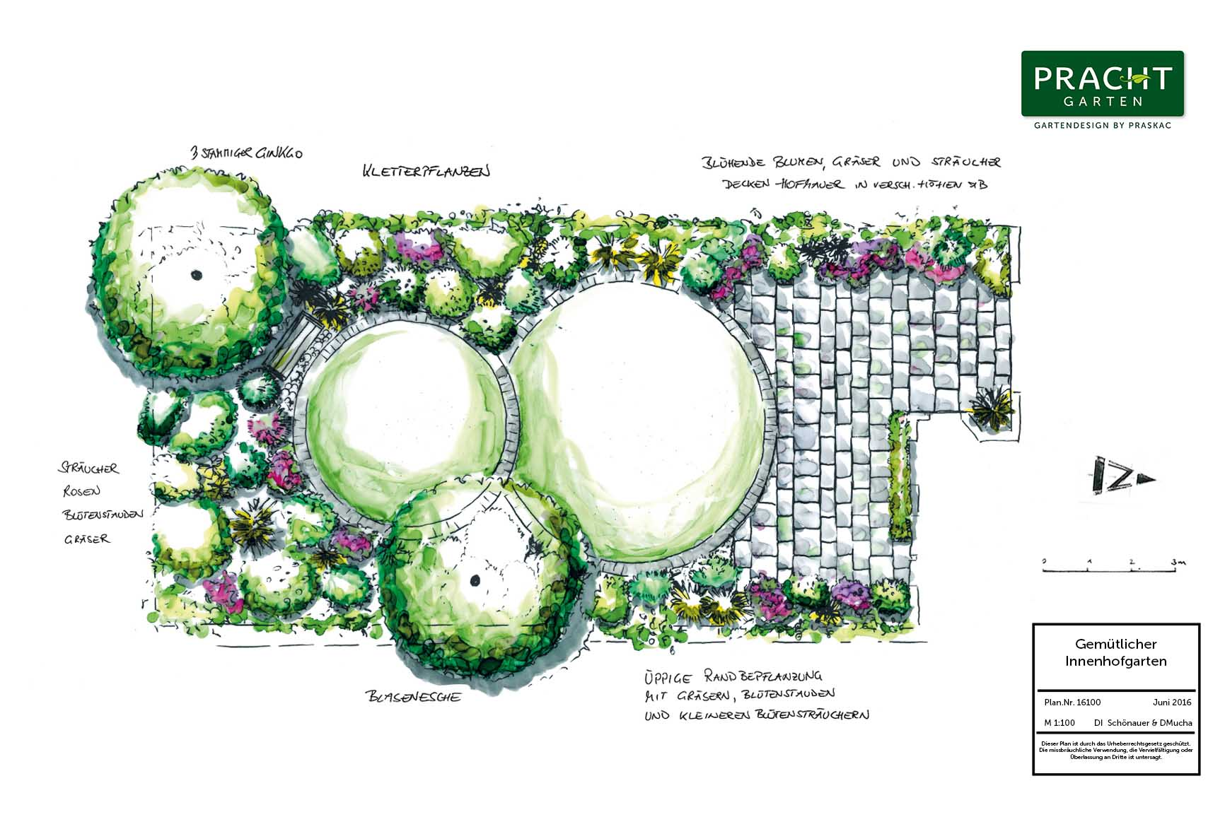 Auch ein Innenhofgarten kann gut geplant werden