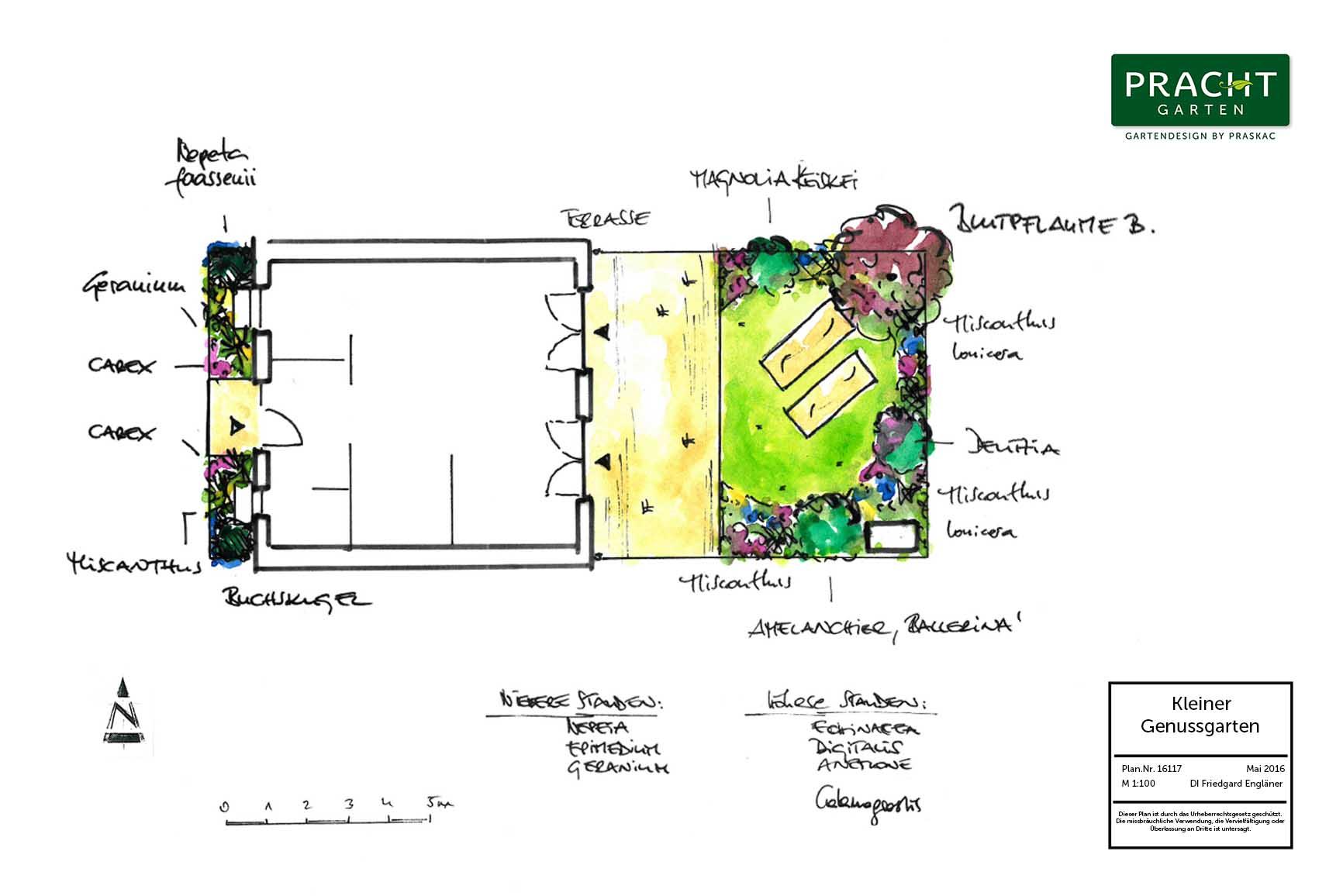 Architekturplanung eines kleinen Gartens